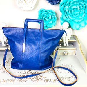 Innue  Blue leather tote bag